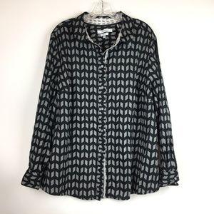 Foxcroft wrinkle free black blouse down button 20W